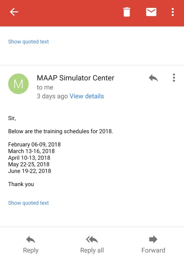 2018 Schedule of Training IMO 6.10