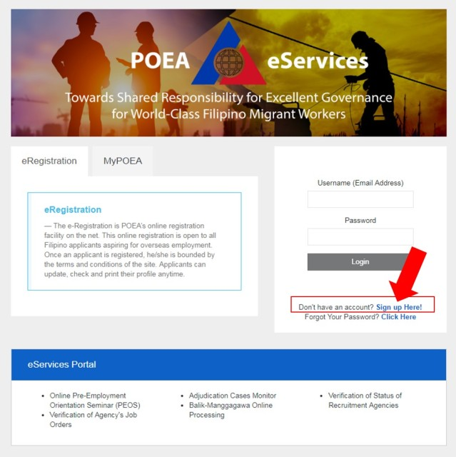POEA E-REGISTRATION HOMEPAGE